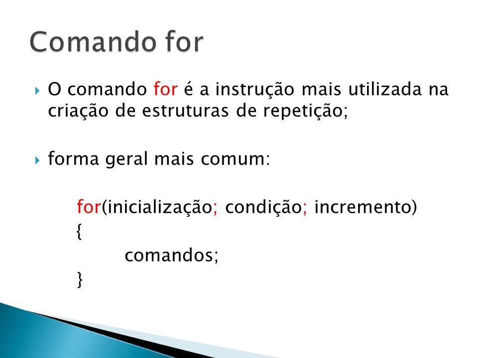 Comando for O comando for é a instrução mais utilizada na criação de estruturas de repetição; forma geral mais comum: