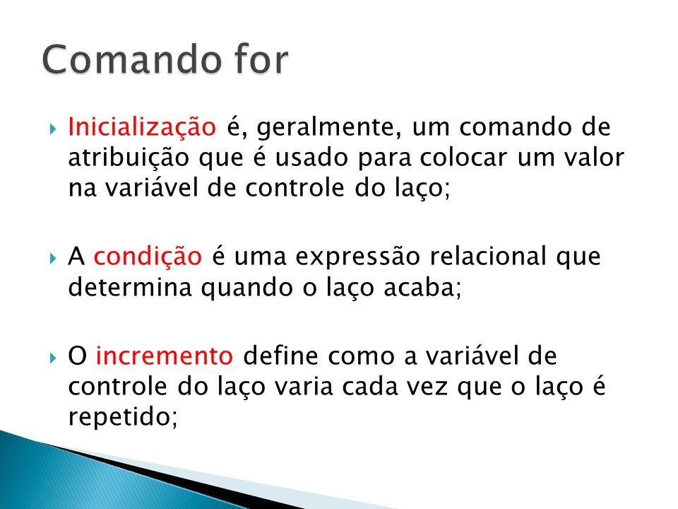 Comando forInicialização é, geralmente, um comando de atribuição que é usado para colocar um valor na variável de controle do laço;