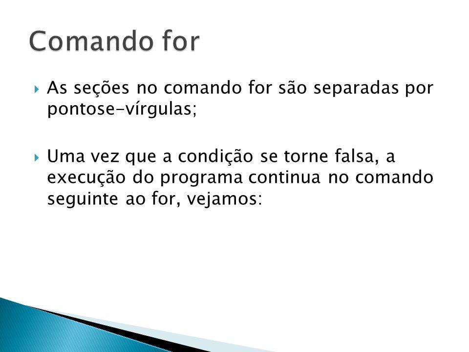 Comando for As seções no comando for são separadas por pontose-vírgulas;