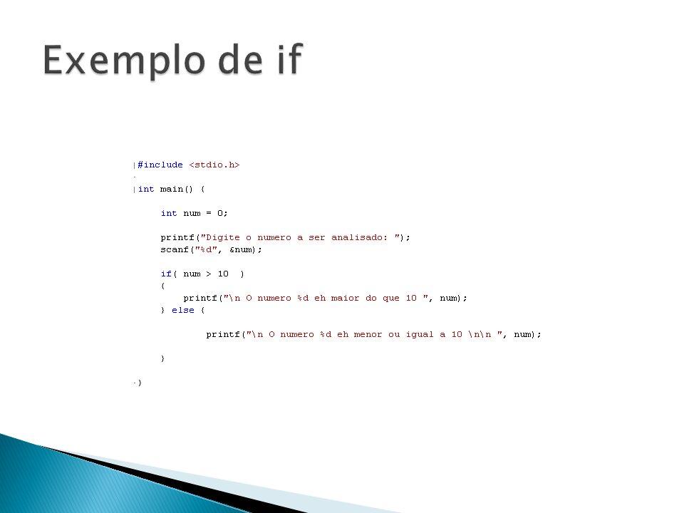 Exemplo de if