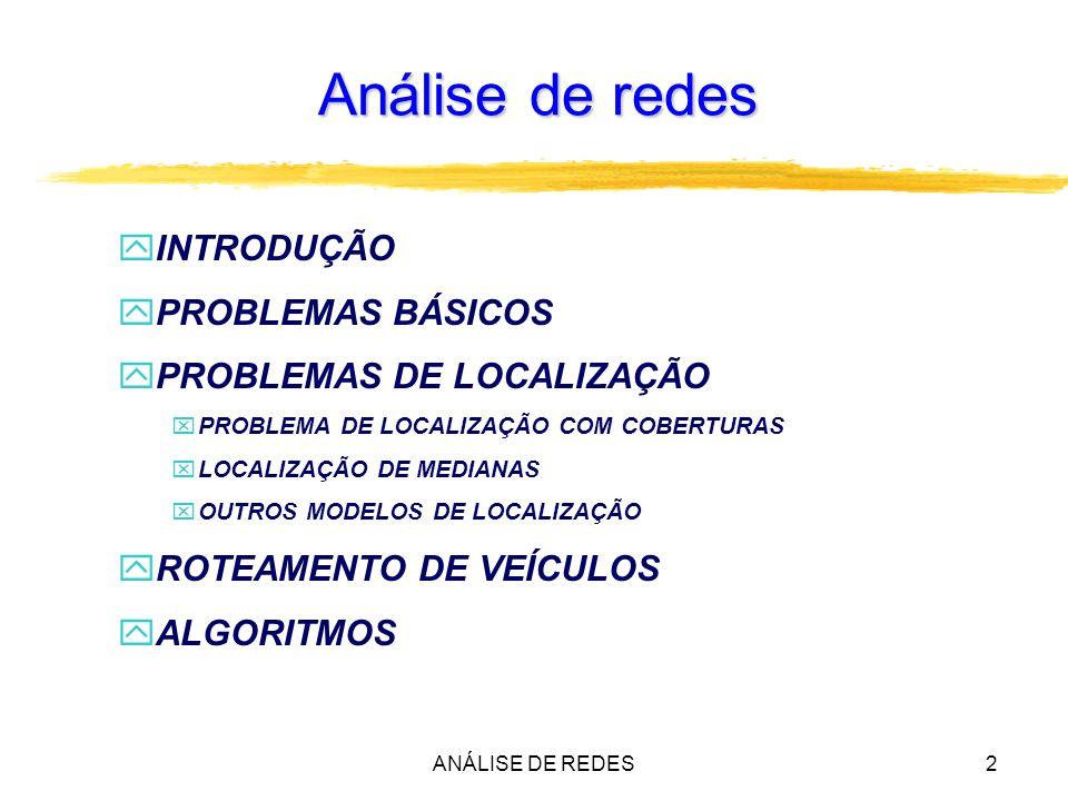 Análise de redes INTRODUÇÃO PROBLEMAS BÁSICOS PROBLEMAS DE LOCALIZAÇÃO