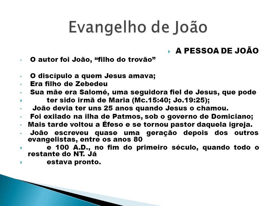 Evangelho de João A PESSOA DE JOÃO O autor foi João, filho do trovão