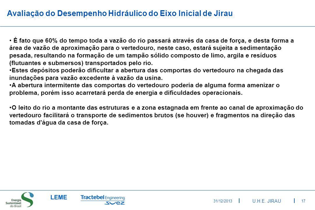 Avaliação do Desempenho Hidráulico do Eixo Inicial de Jirau
