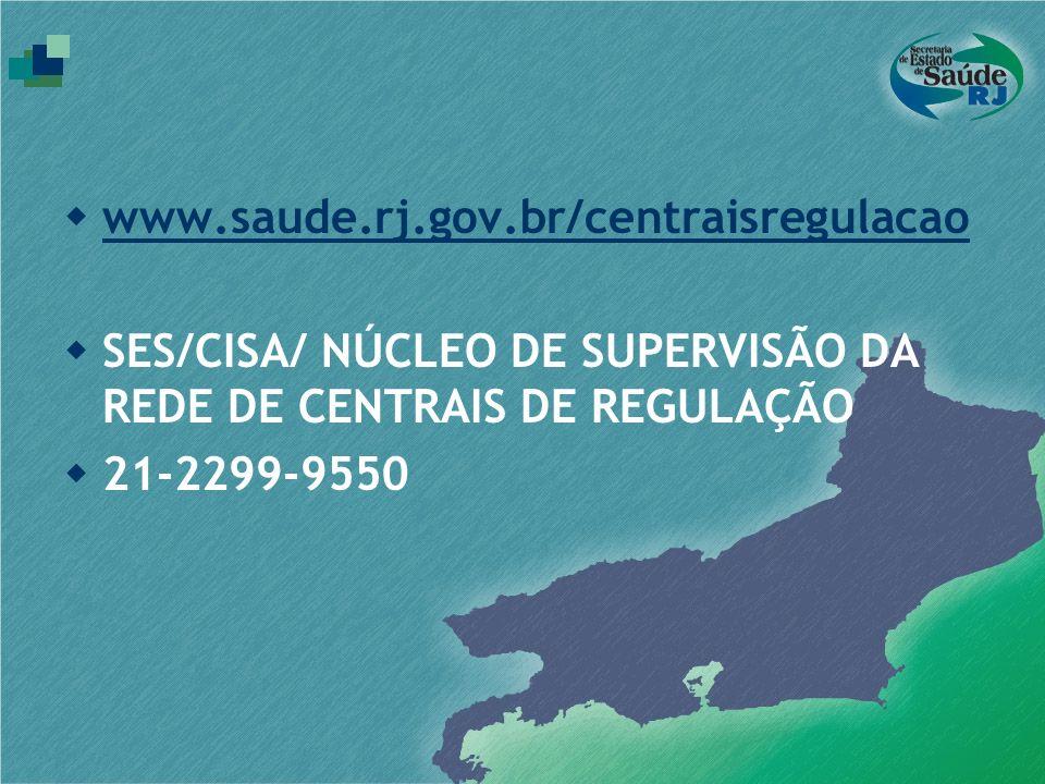www.saude.rj.gov.br/centraisregulacao SES/CISA/ NÚCLEO DE SUPERVISÃO DA REDE DE CENTRAIS DE REGULAÇÃO.
