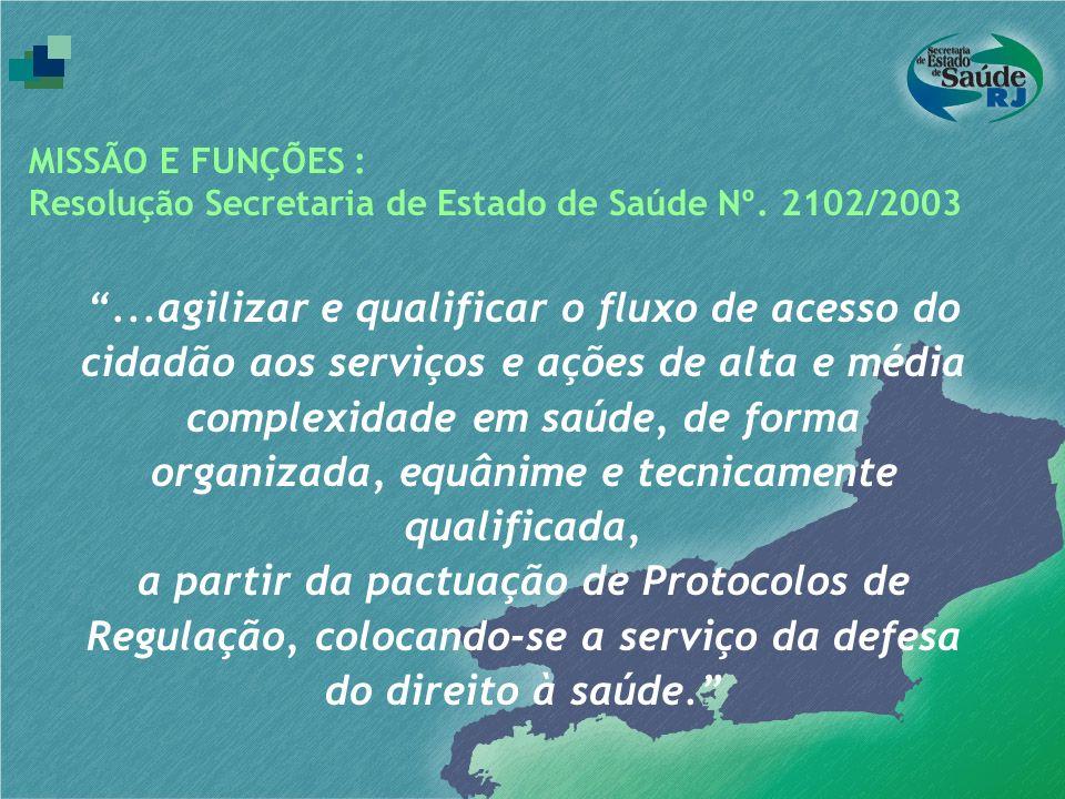 MISSÃO E FUNÇÕES : Resolução Secretaria de Estado de Saúde Nº. 2102/2003.