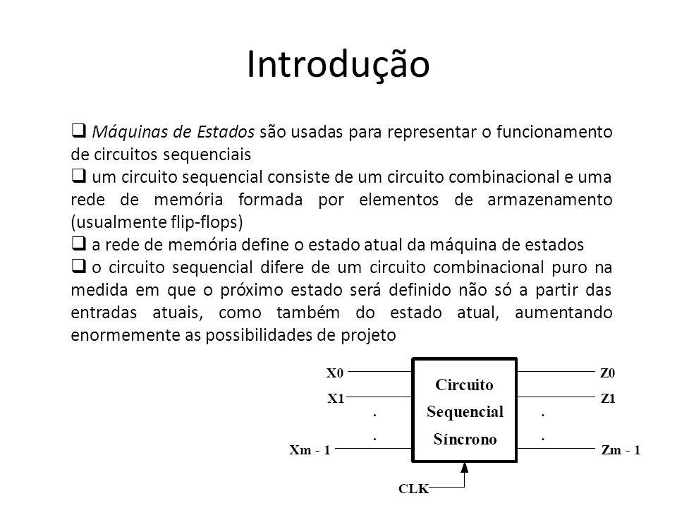 IntroduçãoMáquinas de Estados são usadas para representar o funcionamento de circuitos sequenciais.