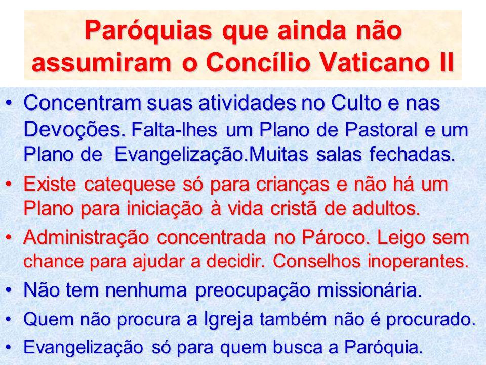 Paróquias que ainda não assumiram o Concílio Vaticano II