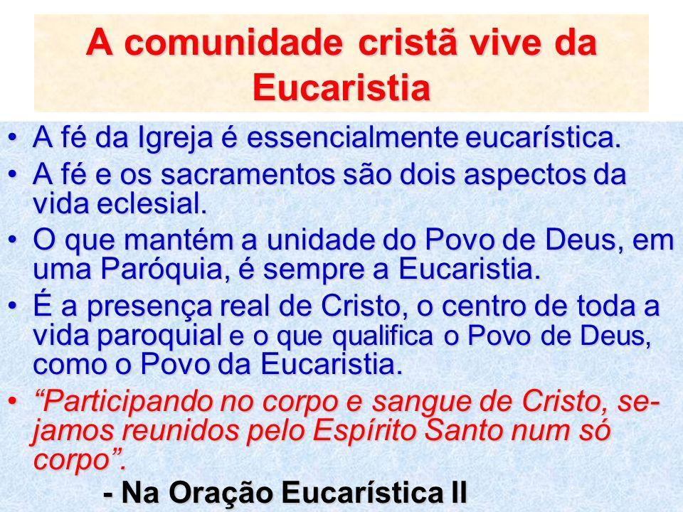 A comunidade cristã vive da Eucaristia