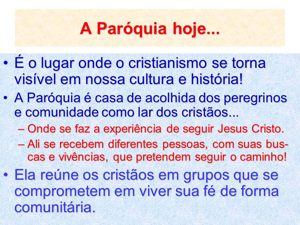 A Paróquia hoje...É o lugar onde o cristianismo se torna visível em nossa cultura e história!