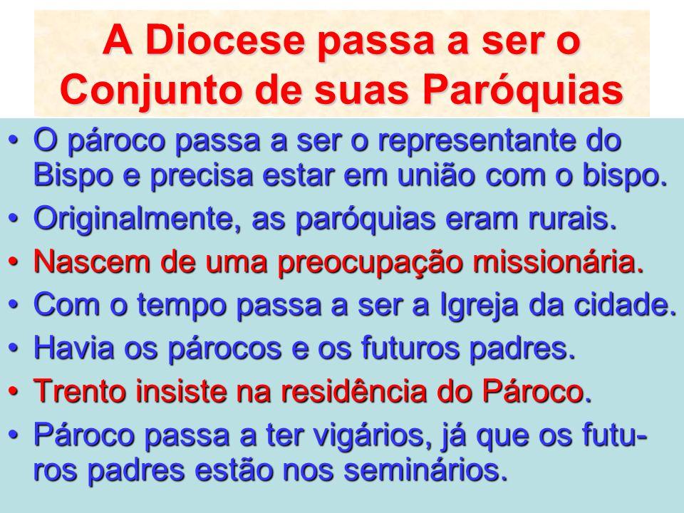 A Diocese passa a ser o Conjunto de suas Paróquias
