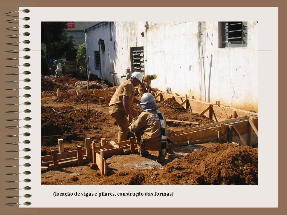 (locação de vigas e pilares, construção das formas)