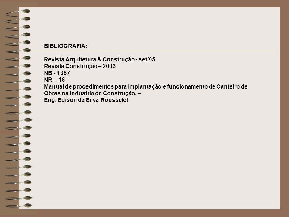 BIBLIOGRAFIA: Revista Arquitetura & Construção - set/95. Revista Construção – 2003. NB - 1367. NR – 18.