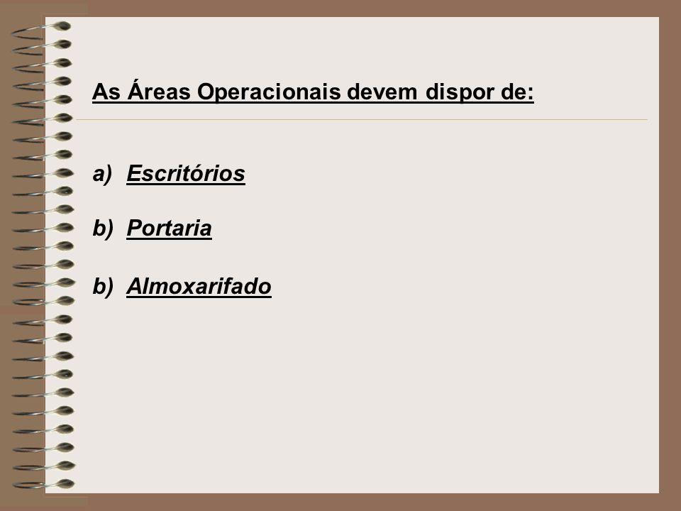 As Áreas Operacionais devem dispor de: