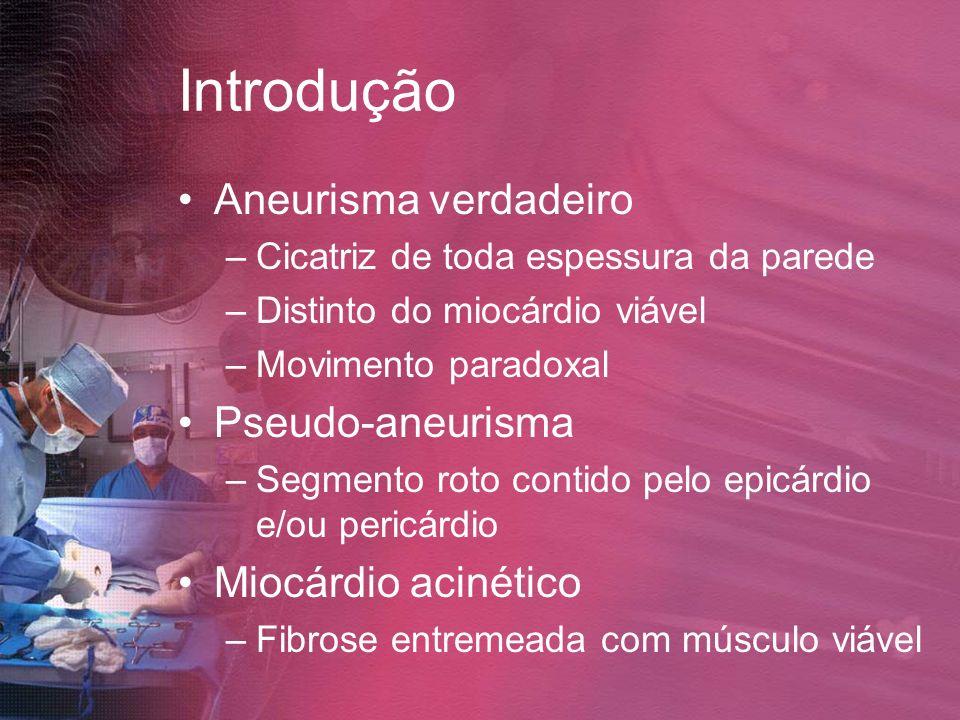 Introdução Aneurisma verdadeiro Pseudo-aneurisma Miocárdio acinético