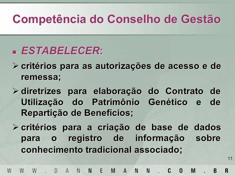Competência do Conselho de Gestão