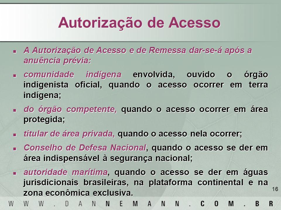 Autorização de AcessoA Autorização de Acesso e de Remessa dar-se-á após a anuência prévia: