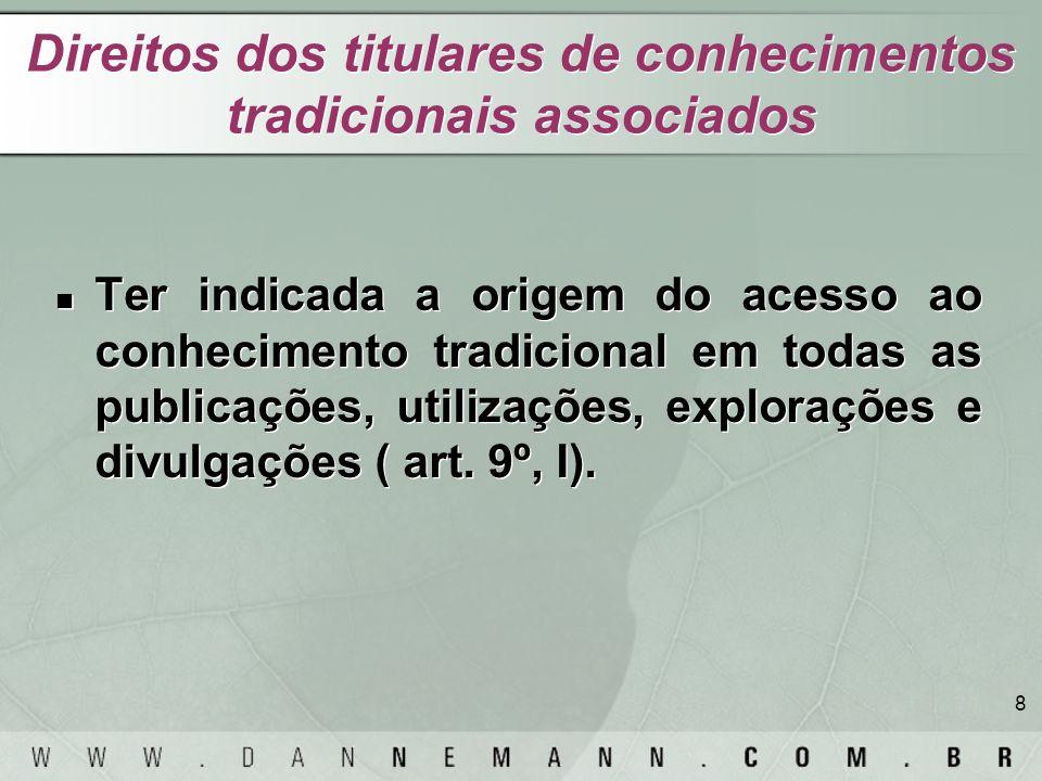 Direitos dos titulares de conhecimentos tradicionais associados
