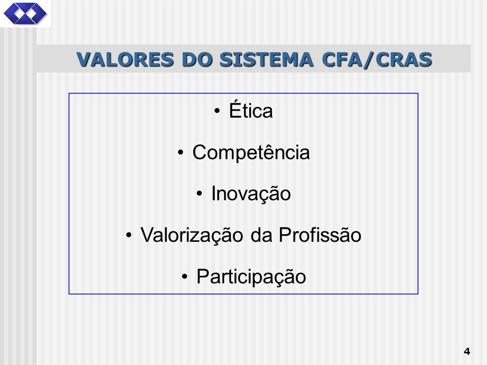 VALORES DO SISTEMA CFA/CRAS
