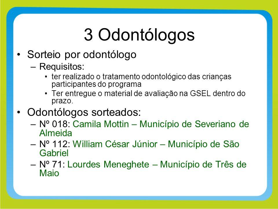 3 Odontólogos Sorteio por odontólogo Odontólogos sorteados: