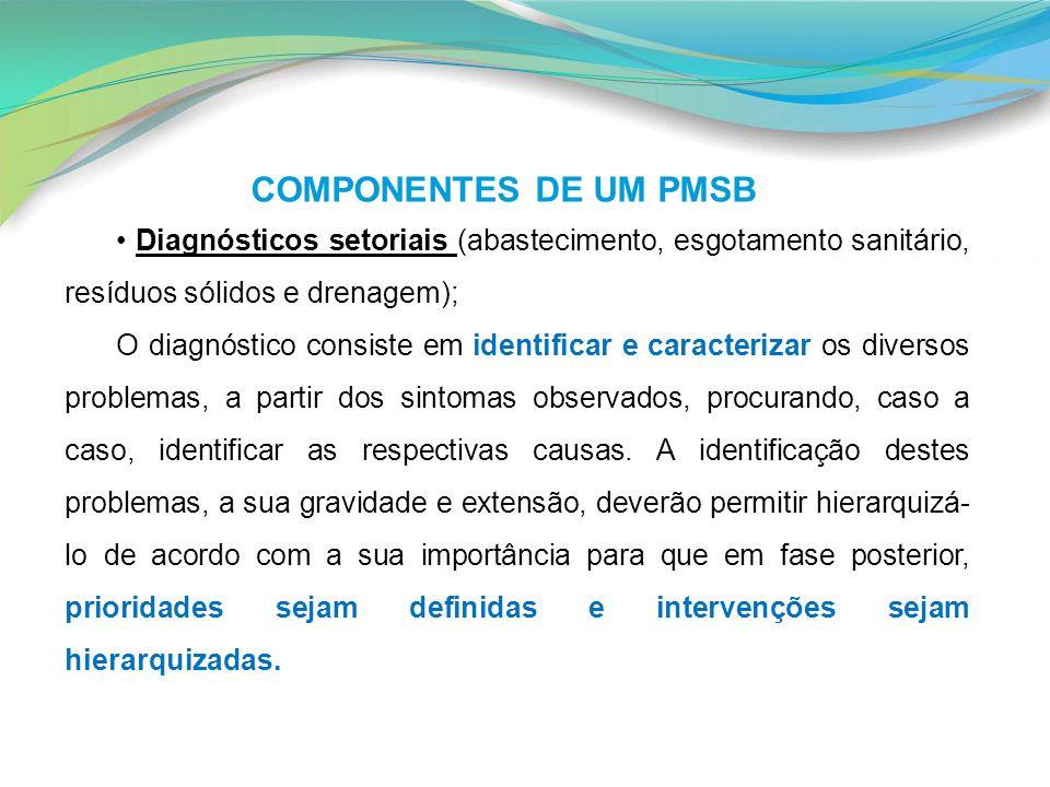 COMPONENTES DE UM PMSB • Diagnósticos setoriais (abastecimento, esgotamento sanitário, resíduos sólidos e drenagem);