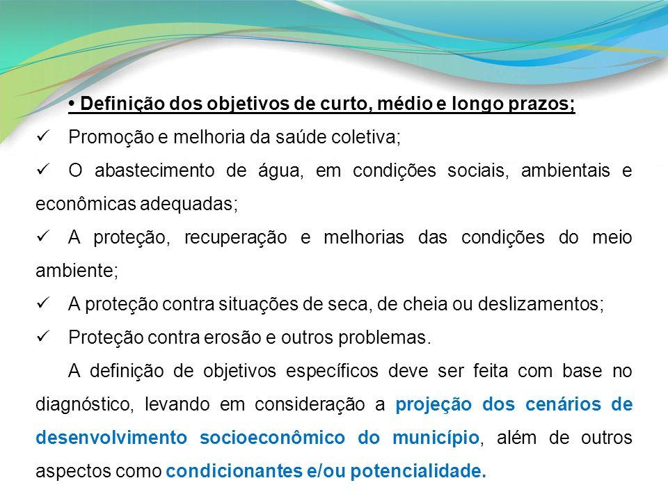 • Definição dos objetivos de curto, médio e longo prazos;