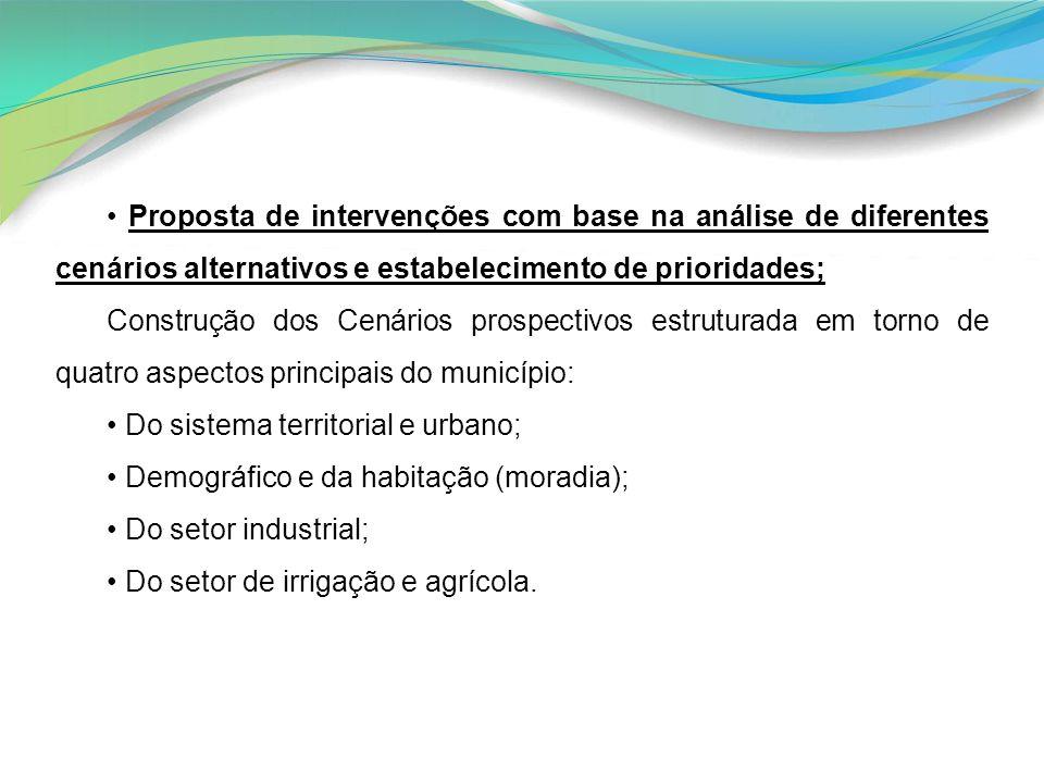• Proposta de intervenções com base na análise de diferentes cenários alternativos e estabelecimento de prioridades;