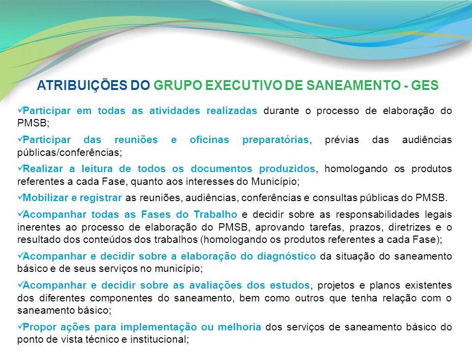 ATRIBUIÇÕES DO GRUPO EXECUTIVO DE SANEAMENTO - GES