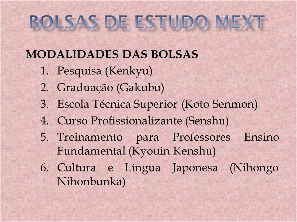BOLSAS DE ESTUDO MEXT MODALIDADES DAS BOLSAS Pesquisa (Kenkyu)