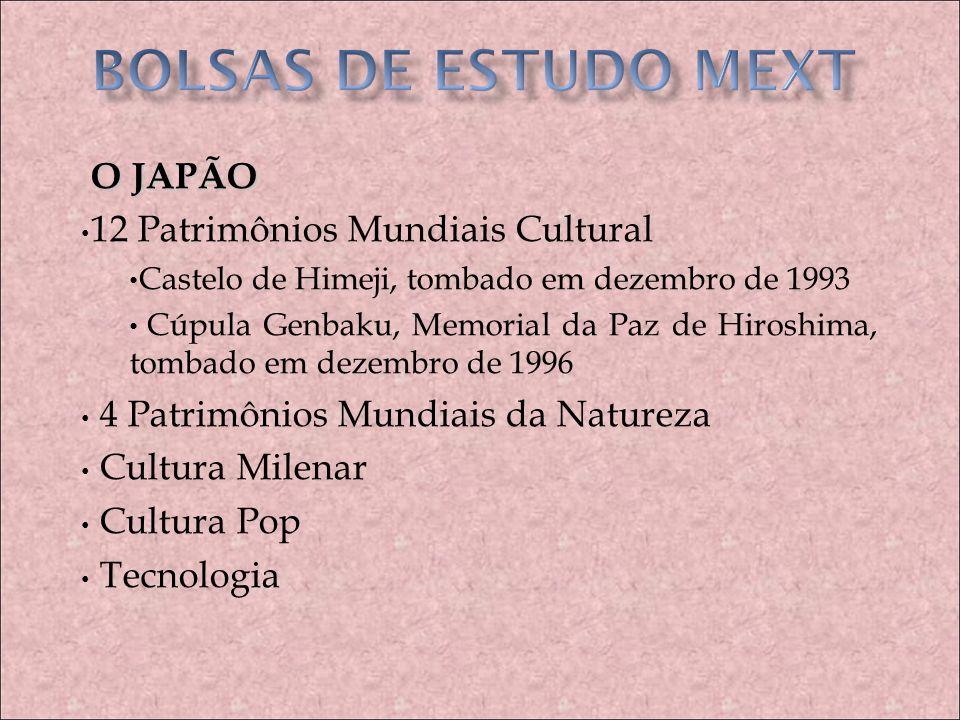 BOLSAS DE ESTUDO MEXT O JAPÃO 12 Patrimônios Mundiais Cultural