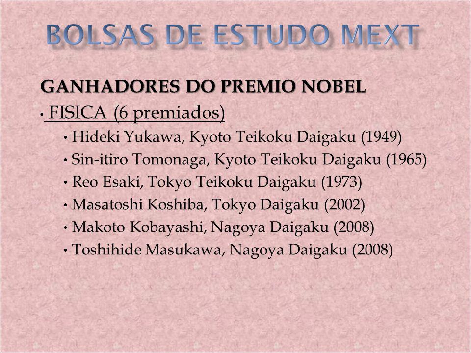 BOLSAS DE ESTUDO MEXT GANHADORES DO PREMIO NOBEL FISICA (6 premiados)