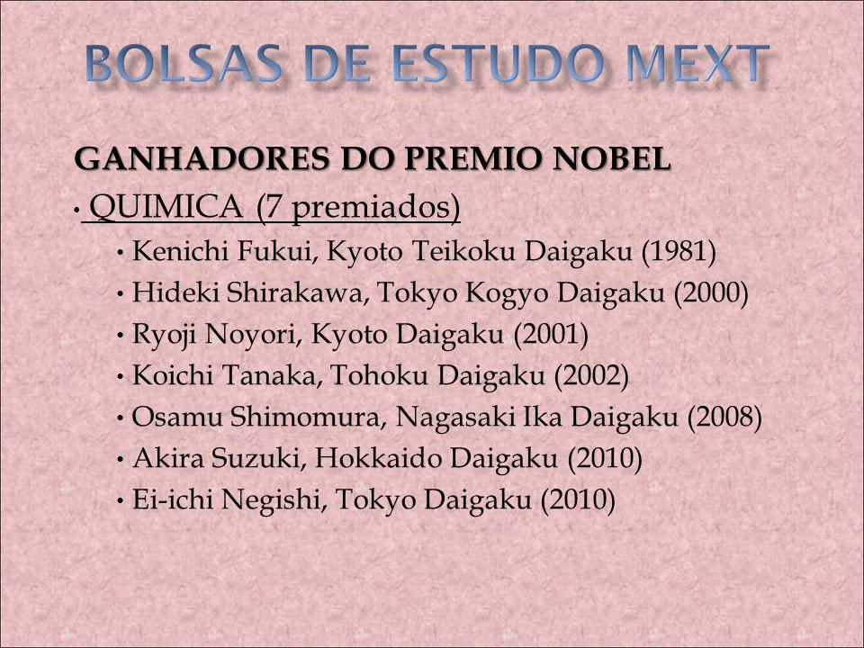 BOLSAS DE ESTUDO MEXT GANHADORES DO PREMIO NOBEL QUIMICA (7 premiados)