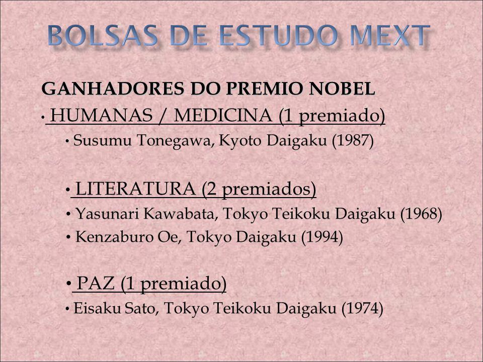 BOLSAS DE ESTUDO MEXT GANHADORES DO PREMIO NOBEL