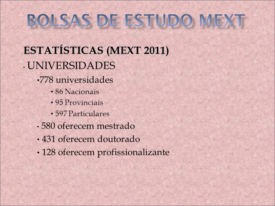 BOLSAS DE ESTUDO MEXT ESTATÍSTICAS (MEXT 2011) 778 universidades