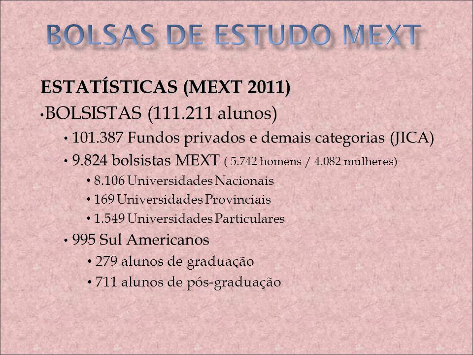 BOLSAS DE ESTUDO MEXT ESTATÍSTICAS (MEXT 2011)
