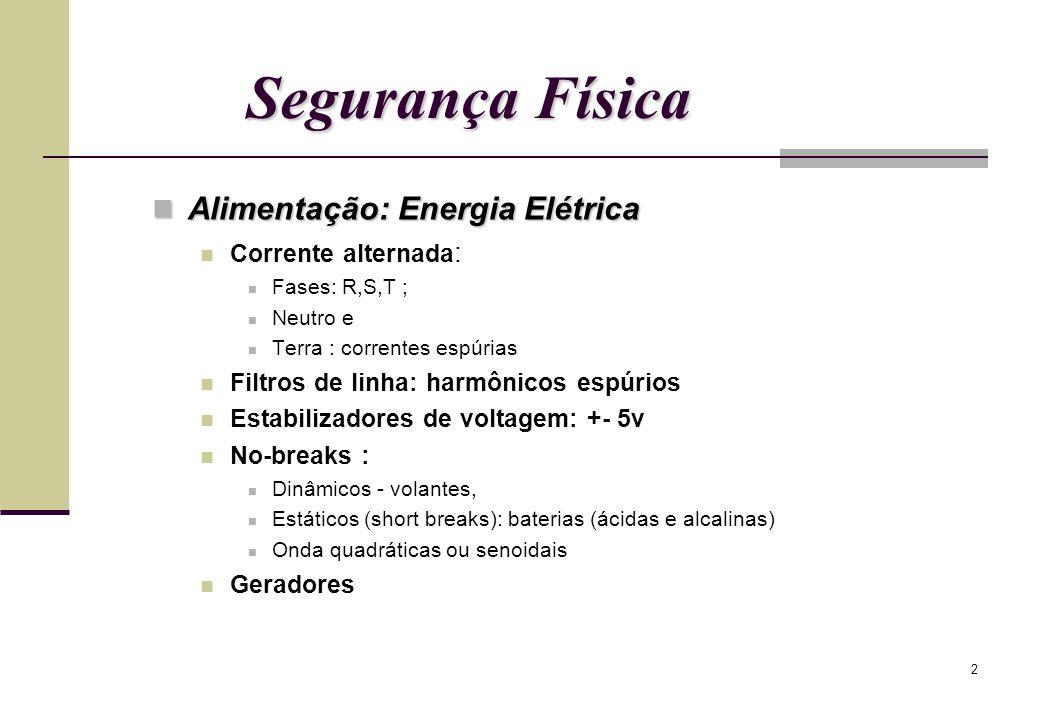 Segurança Física Alimentação: Energia Elétrica Corrente alternada: