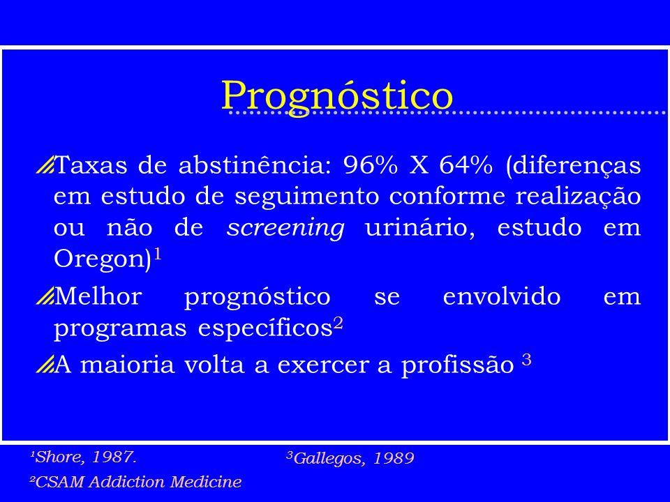 PrognósticoTaxas de abstinência: 96% X 64% (diferenças em estudo de seguimento conforme realização ou não de screening urinário, estudo em Oregon)1.