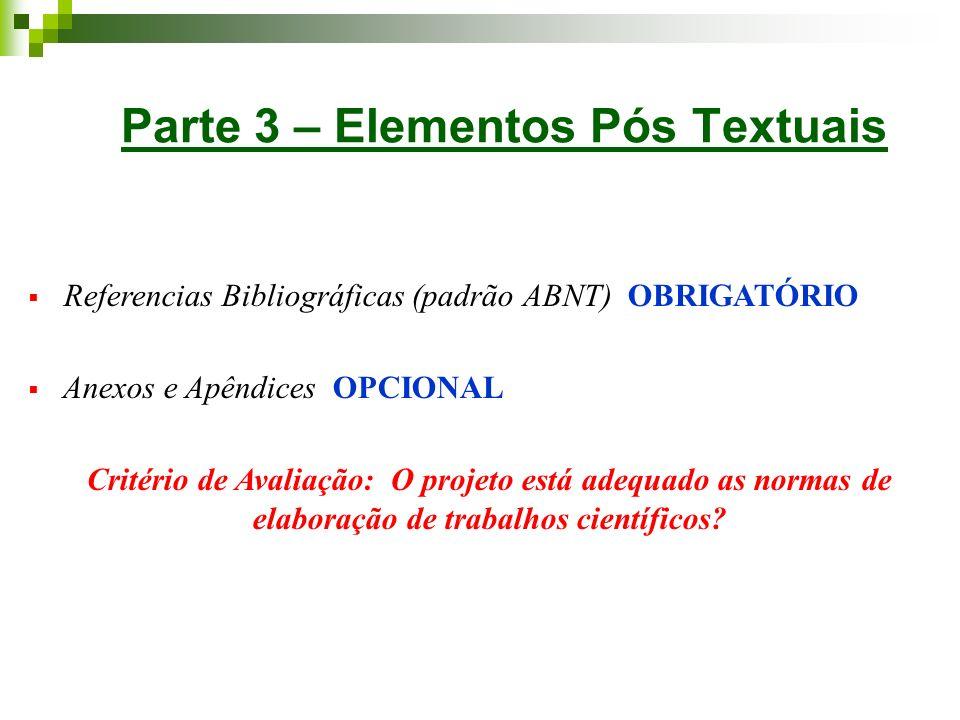 Parte 3 – Elementos Pós Textuais