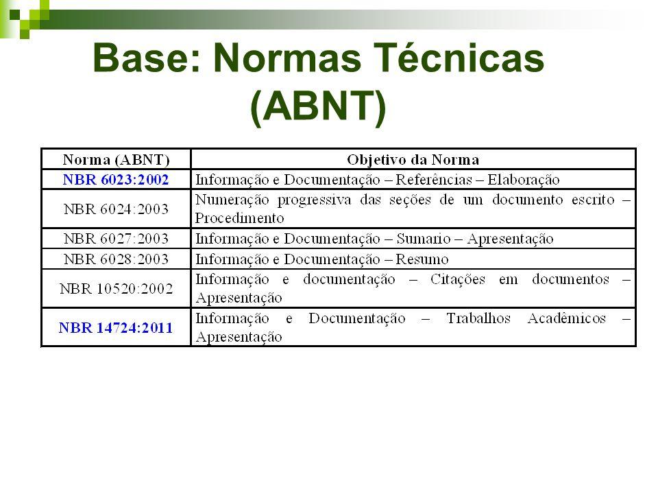 Base: Normas Técnicas (ABNT)