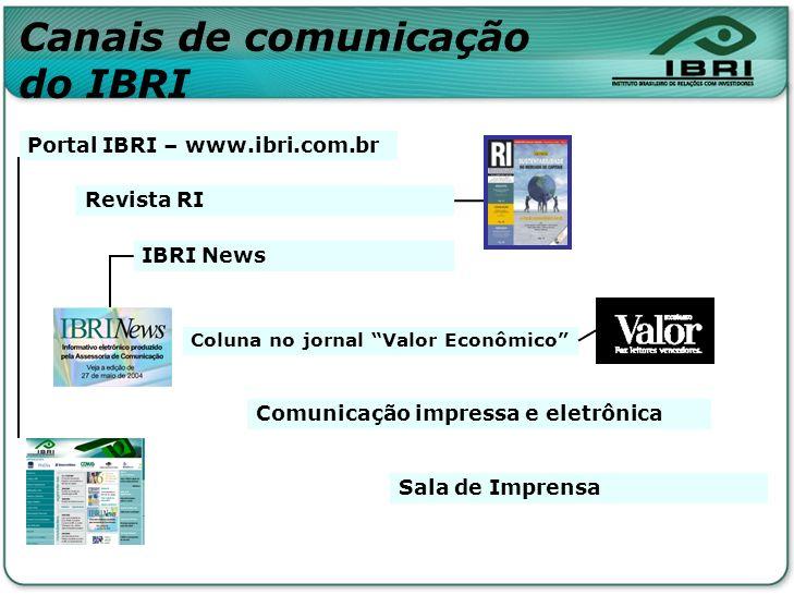 Canais de comunicação do IBRI Portal IBRI – www.ibri.com.br Revista RI