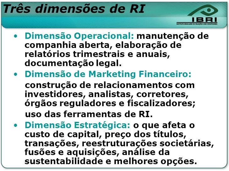 Três dimensões de RI Dimensão Operacional: manutenção de companhia aberta, elaboração de relatórios trimestrais e anuais, documentação legal.