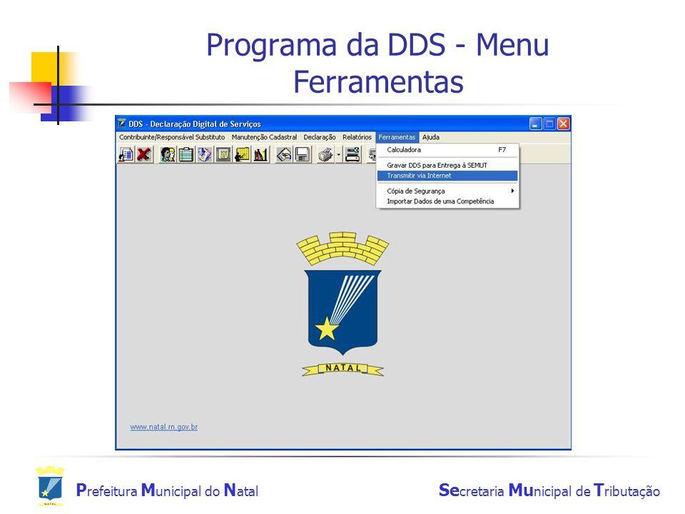 Programa da DDS - Menu Ferramentas