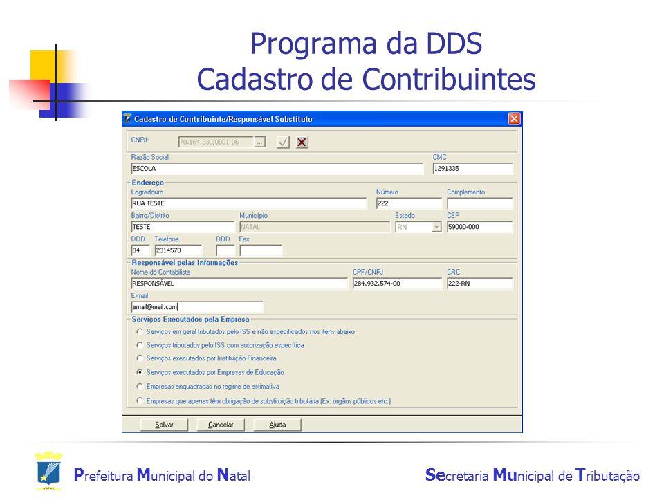 Programa da DDS Cadastro de Contribuintes
