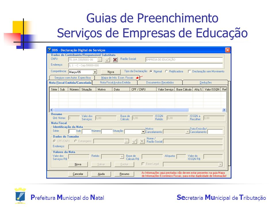 Guias de Preenchimento Serviços de Empresas de Educação