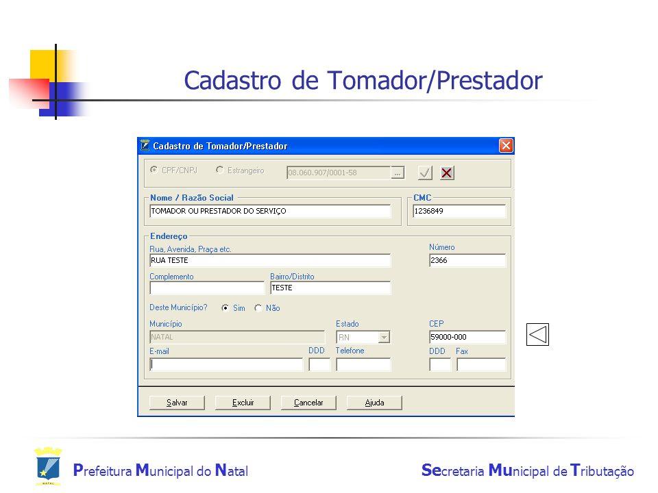 Cadastro de Tomador/Prestador