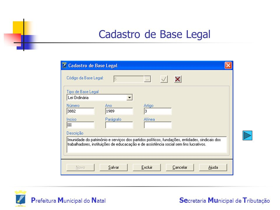 Cadastro de Base Legal