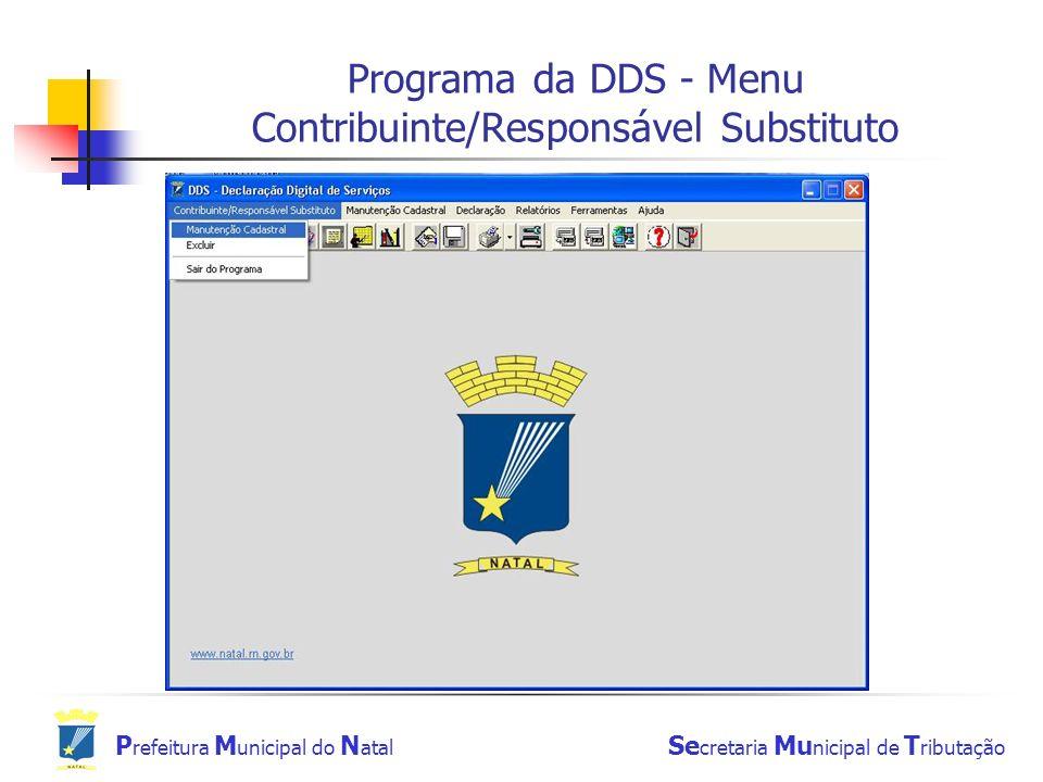Programa da DDS - Menu Contribuinte/Responsável Substituto