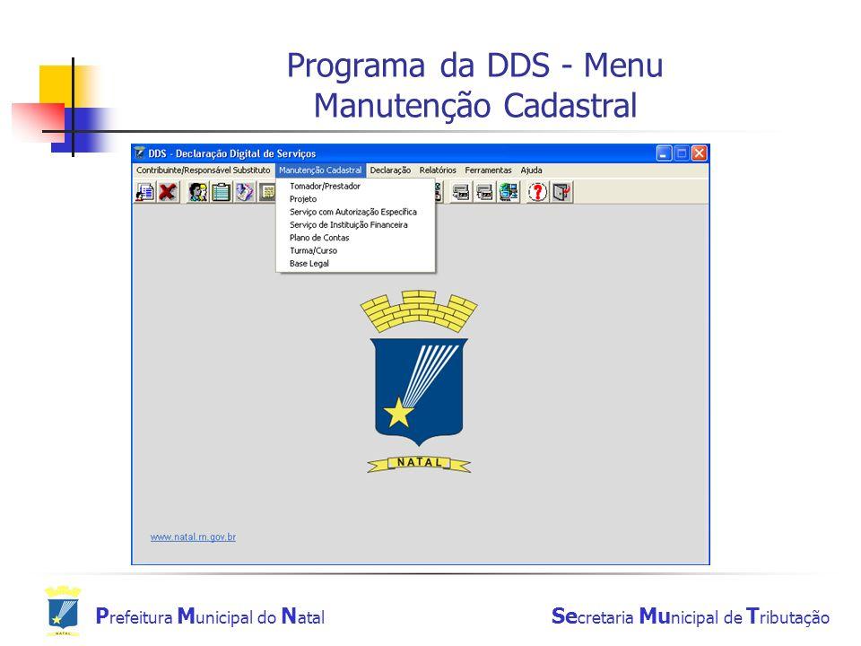 Programa da DDS - Menu Manutenção Cadastral