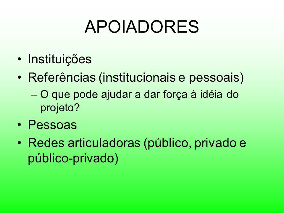 APOIADORES Instituições Referências (institucionais e pessoais)