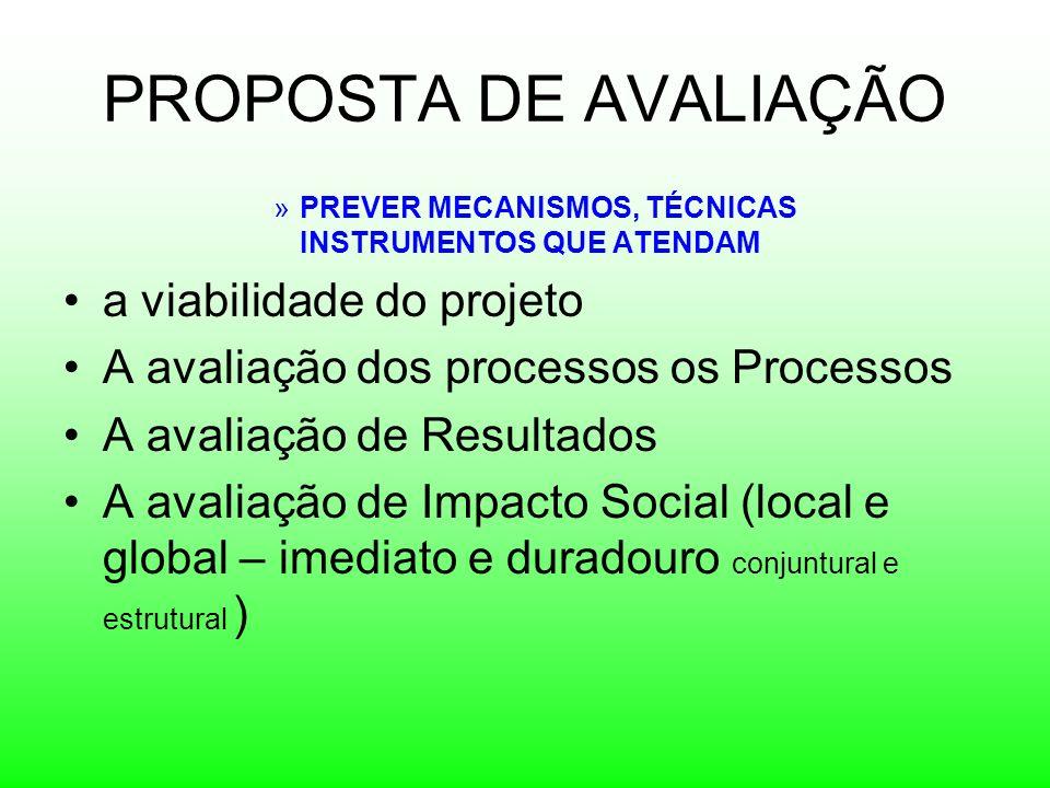 PROPOSTA DE AVALIAÇÃO a viabilidade do projeto