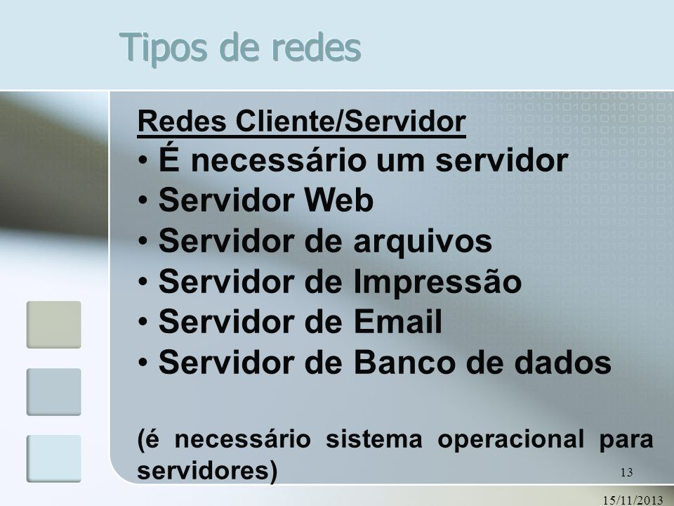 Tipos de redes É necessário um servidor Servidor Web